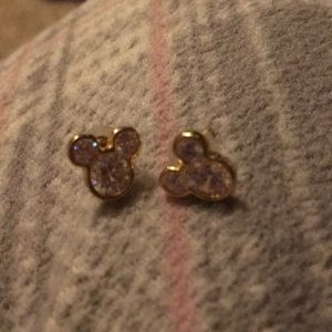Mickey Gold Crystal Earrings NWOT